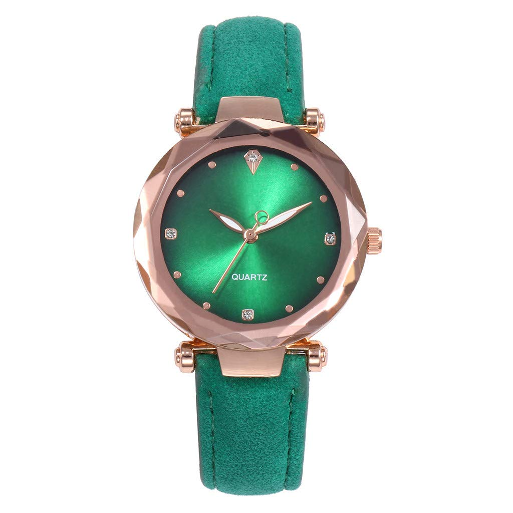 Starry Sky Watch for Women, Crystal Dial Analog Quartz Wristwtach with Suede Pu Leather Band BravetoshopV437RU(Green)