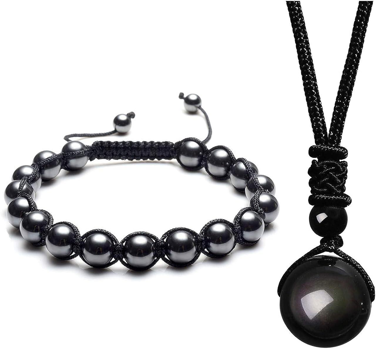 JSDDE Bijoux Ensemble de Collier et Bracelet en Perles d/'Obsidienne Noire Naturelle Bijoux de Cristal pour Femme