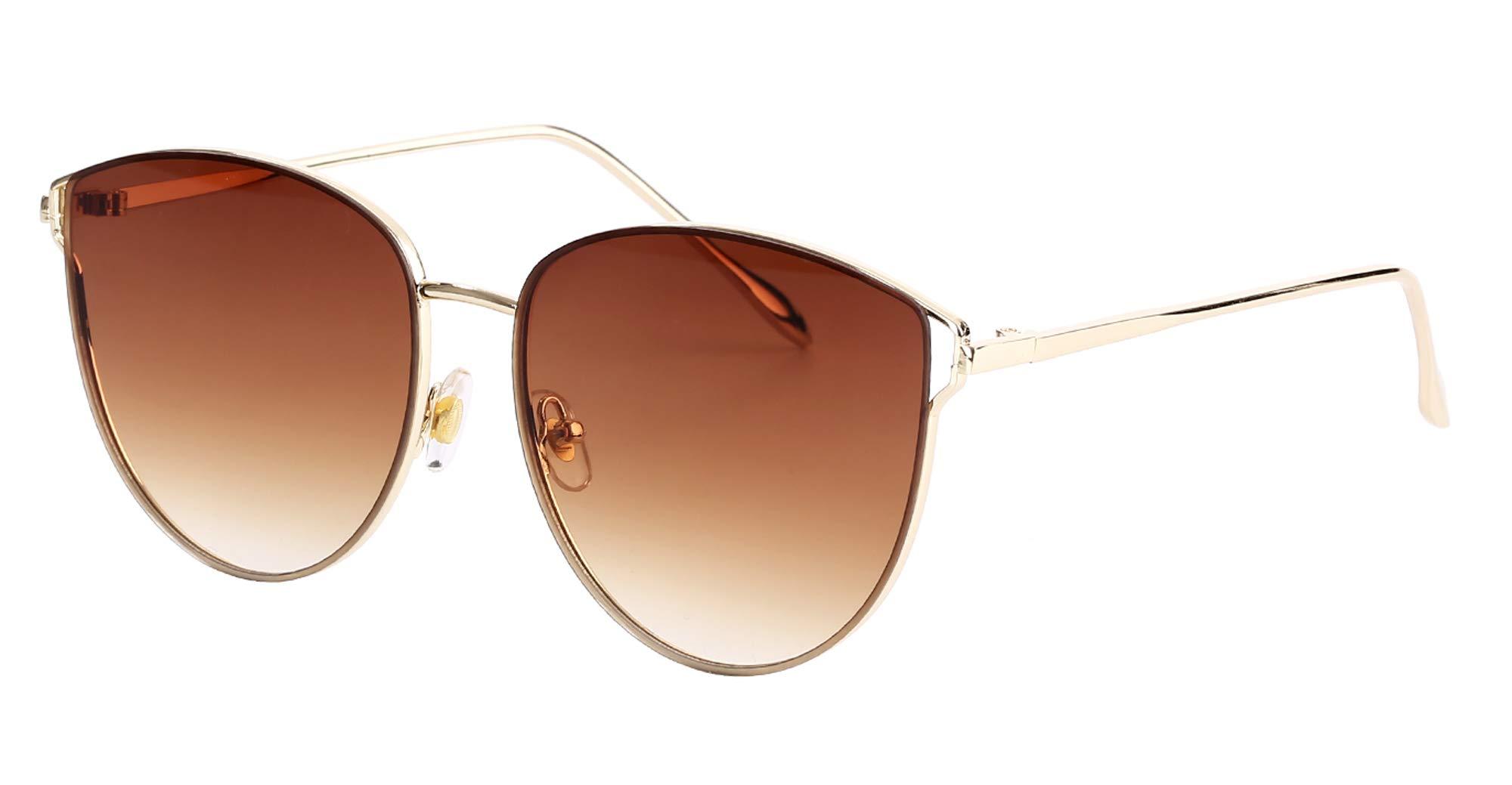 Mirrored Sunglasses for Women, Cat Eye Sunglasses, Rimless Sunglasses with Sunglasses Case (brown)