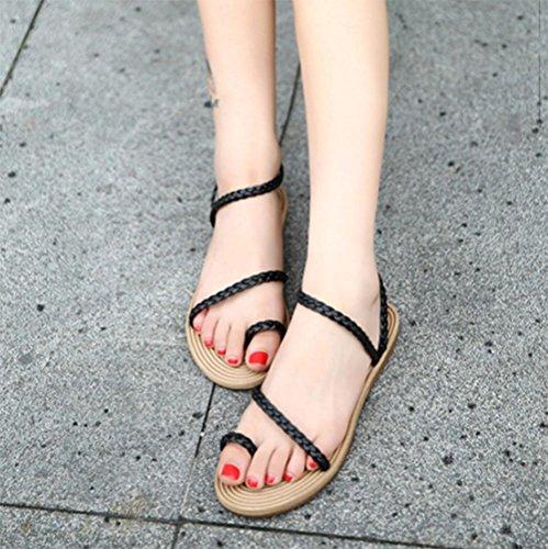 Einfache offene Sandalen Klippzehesandelholz Black