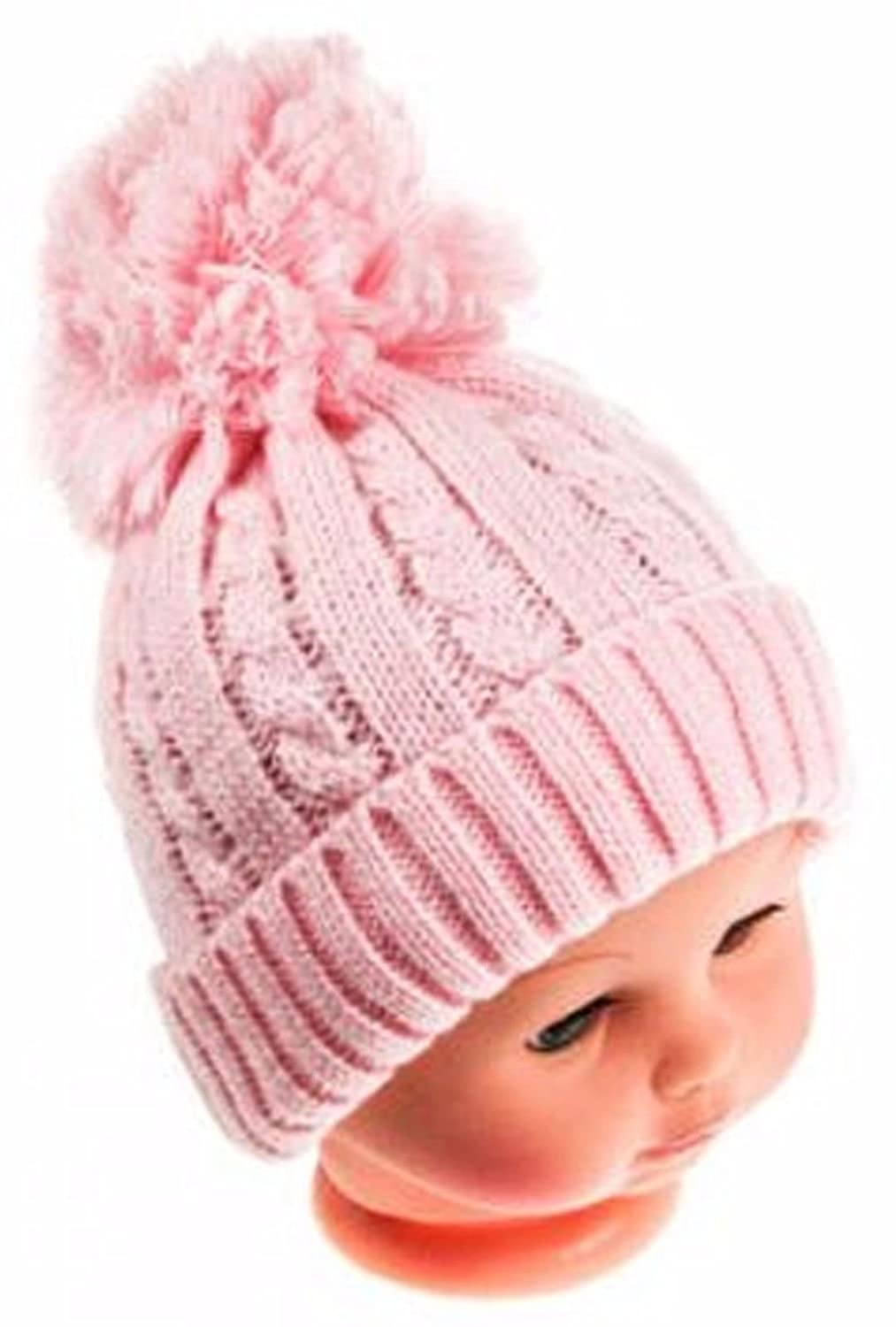 Baby Boys Girls Knitted Pom Pom Soft Hat NB-6, 6-12, 0-12 & 12-24 Months H470