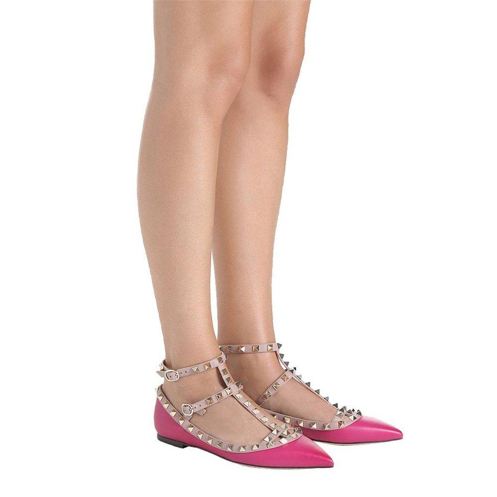 VOCOSI Damen Flat Heels Nieten Nieten Heels Straps Spitze Zehe Ballerinas Flats Schuhe Hot Pink(matt) aca7fb
