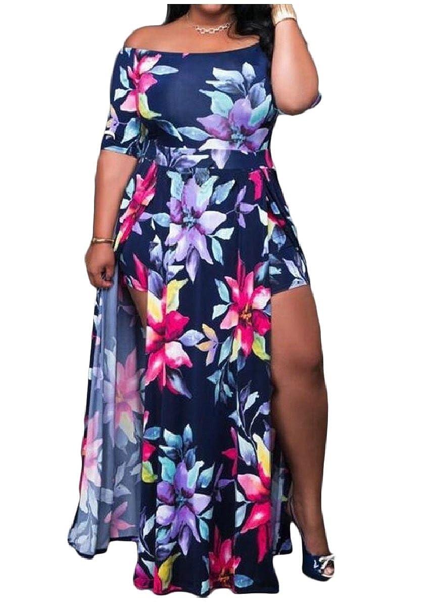 66ef02bbed1f Belie Women s Floral Off Shoulder Beach High Low Split Maxi Romper Jumpsuit  1 XXS  Amazon.in  Clothing   Accessories