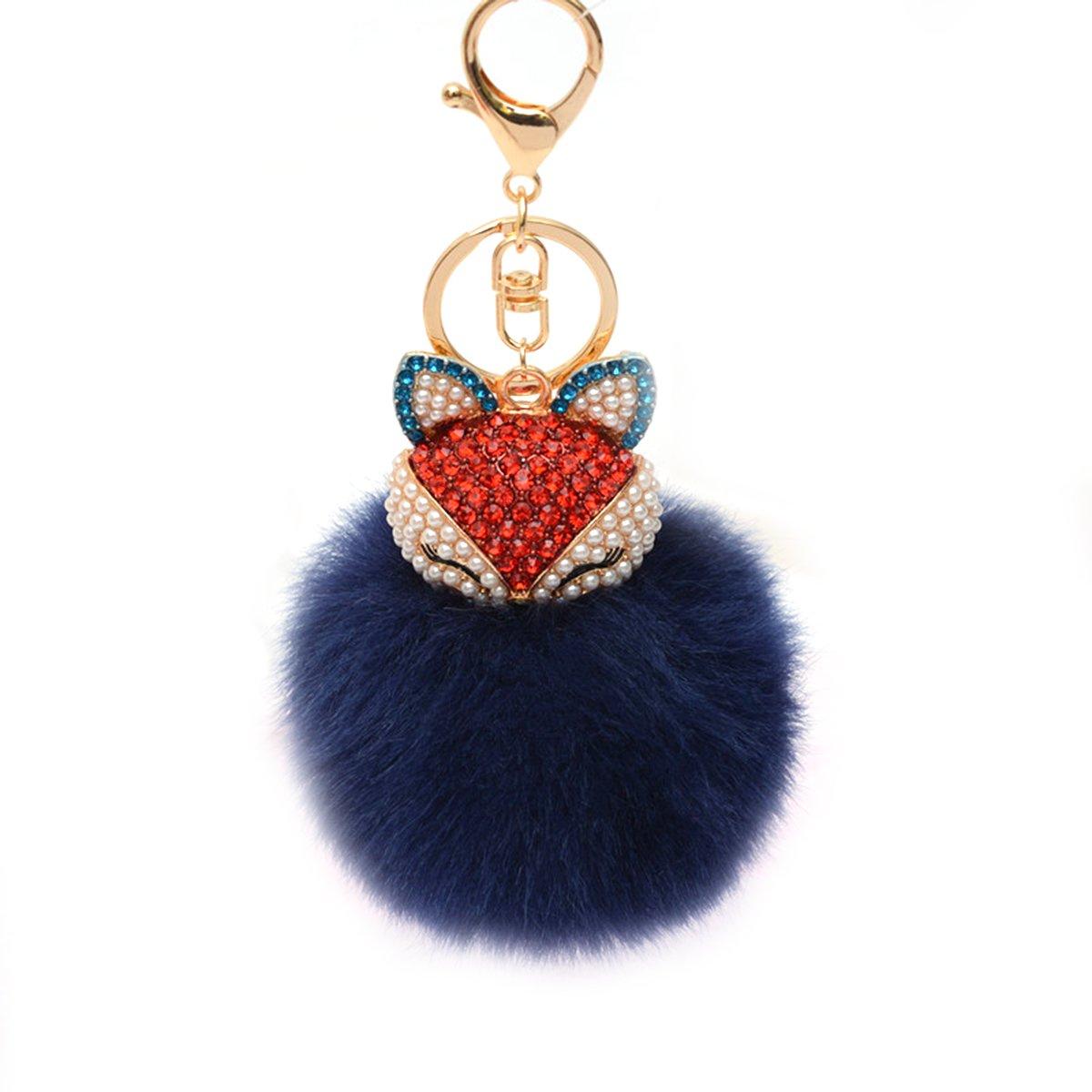 TOYMYTOY Llavero mullido de la bola con el llavero del embutido de los diamantes de imitació n de las perlas para el bolso / el telé fono mó vil / el colgante del coche de las mujeres (rosa)