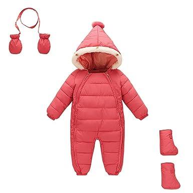 87b0c01537f7e LittleSpring 冬 ダウン カバーオール ロンパース フード付き キャップスーツ ベビー 男の子 女の子 長袖 防寒着 幼児
