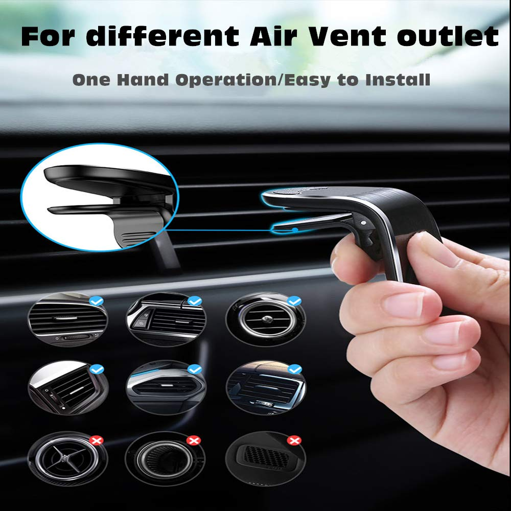 Universal Air Vent Car Phone Mounts Magnetic Mount Phone Holder with Super Strong Magnet for iPhone Xs Max XR X 8 7Plus Samsung S10 S9 S8 Google Pixel 3-2Pack WJZXTEK Magnetic Phone Car Mount