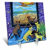 3dRose dc_66327_1 View from The Window, Cats, Plants and Beach View-Desk Clock, 6 by 6-Inch