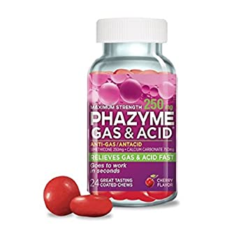 amazon com phazyme gas and acid relief chewable 250 mg 24 ct