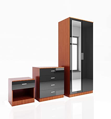 Elegant 3 Piece Bedroom Furniture Sets High Gloss Soft Close Wardrobe Mirrored 4 Storage Drawer Chest Of Drawers Bedside Cabinet Black Walnut Wardrobe And Chest Of Drawers Set Amazon Co Uk Kitchen