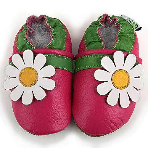 AUGUSTA BABY Baby Boys Girls First Walker Soft Sole Leather Baby Shoes - Genuine Leather Daisy