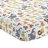 Lambs & Ivy Two Of A Kind Multi Noah's Ark Animals Fitted Crib Sheet, Blue