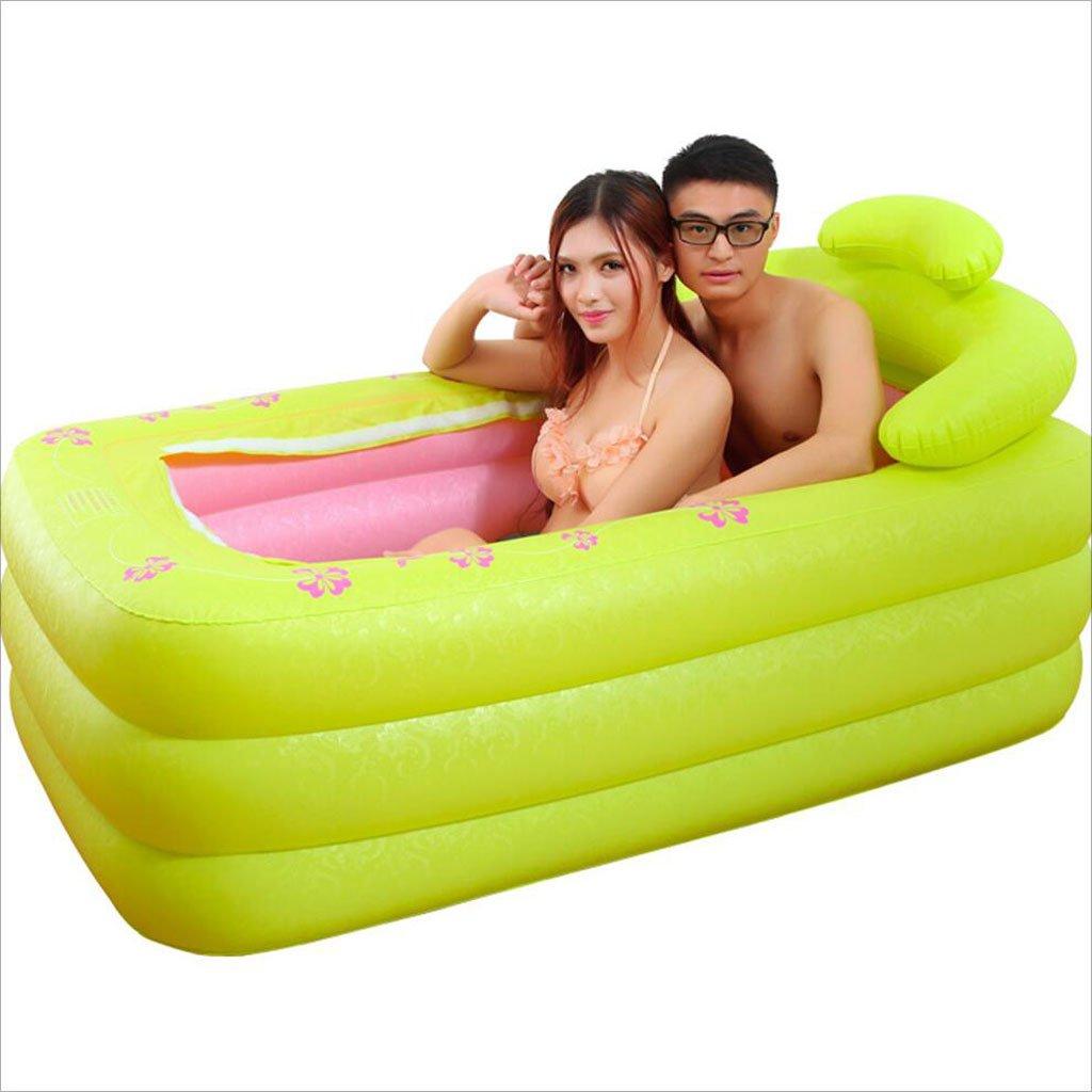 LQQGXL,Bath Double Inflatable Bathtub Thicker Family Couple Basin Folding Bathtub Bathtub Bathtub Adult Bathtub Bathtub Green Inflatable bathtub