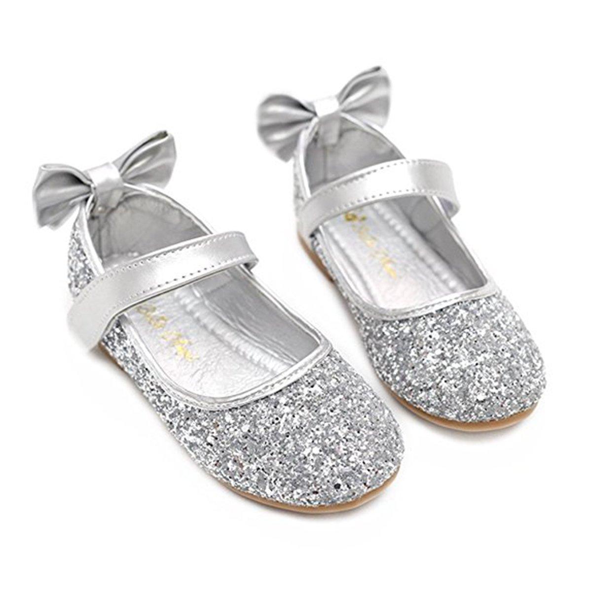 YING LAN Girl Round-Toe Sparkle Bowknot Ballet Ballerina Flat Shoes