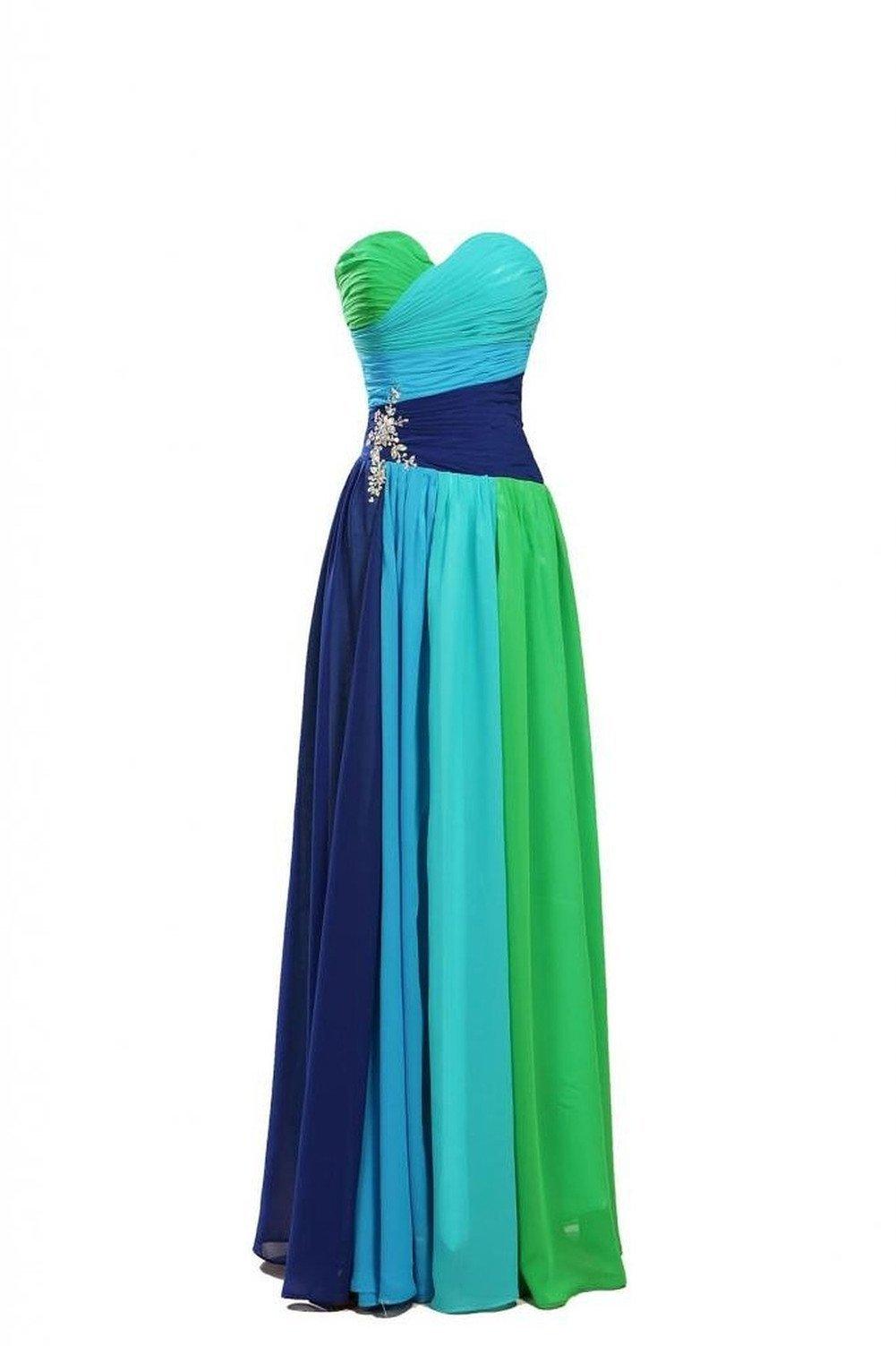 Dormencir Women's Rhinestone Colorful Long Bridesmaid Prom Evening Dresses (12) by Dormencir (Image #4)