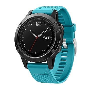 squarex Silicagel - Correa de repuesto para reloj GPS Garmin Fenix 5, color azul celeste: Amazon.es: Deportes y aire libre