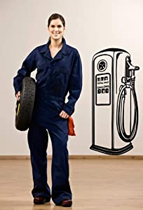Gas Pump Retro Fuel Car Decal Auto Automobile Petro Petroleum Shop Engine Garage Vinyl Sticker Wall Home Office Garage Decor and Stick Made in USA