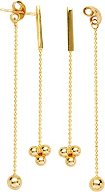 14k 14kt Yellow Gold Beaded Chain Front//Back Dangle Earrings