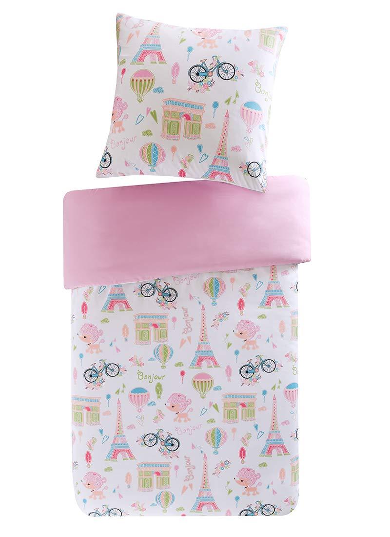 Mizone Kids Parure de lit enfant motif «Bonjour», Tour Eiffel, bicyclette, rose et blanc, 135 x 200 + 80 x 80cm SCM Home