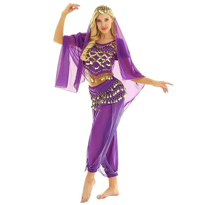 CHICTRY Traje Danza del Vientre Mujer Chica Disfraz de Bailarina ...