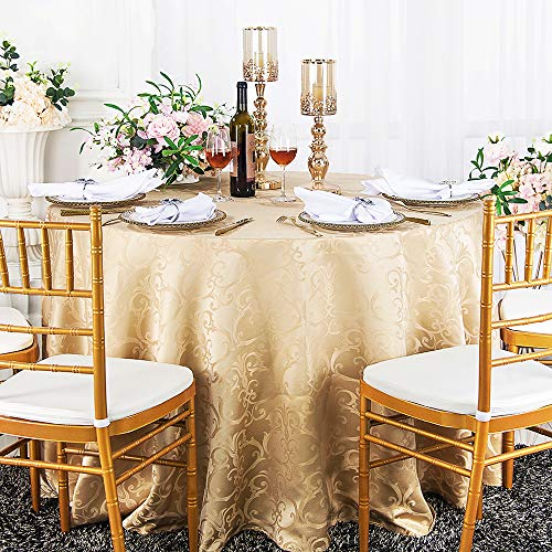 Wedding Linens Inc. 120 Inch Round Versailles Chopin Jacquard Damask Polyester Tablecloths Table Cover Linens for Restaurant Kitchen Dining Wedding Party Banquet Events - Champagne (Damask Tablecloth 120 Round)