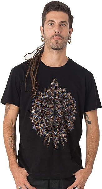 Street Habit Camiseta Negra Estampada de Mandalas Sol Mexica ...