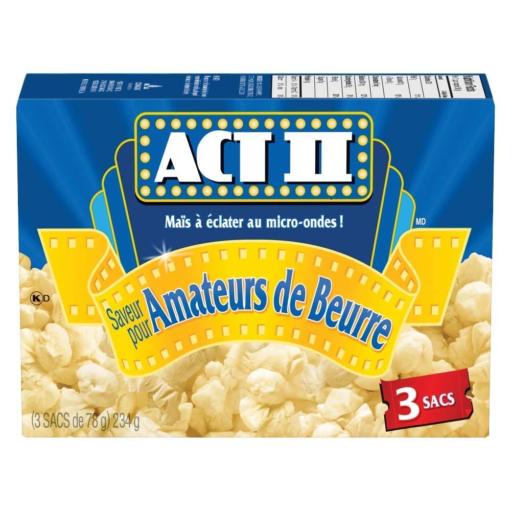 très loué réel classé nouveaux produits chauds Act ii Microwave Gourmet Popcorn - Butter Lovers Flavour (3 x 78g  Snack-Size Bags), 1 Count