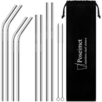 Poseimet Stainless Steel Straws with Pouch and Cleaning Brushes, Set of 8 Reusable Metal Straws, BPA-Free Drinking Straws
