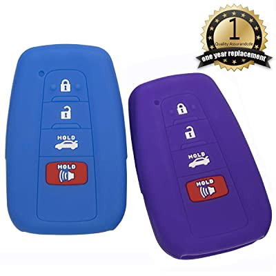 Lcyam Blue Purple Soft Material Silicone 4 Buttons Protective Key Fob Cover Case Fits for Toyota Avalon Corolla Camry RAV4 Prius Smart Keyless Remote: Automotive [5Bkhe1501512]