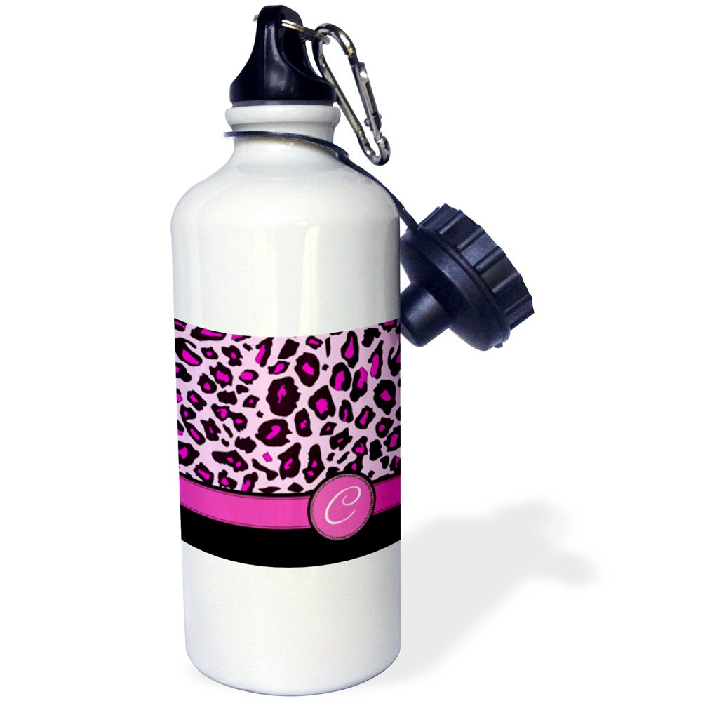3dRose wb_154404_1 ''Personalized initial C monogrammed hot pink and black leopard pattern animal print-personal letter'' Sports Water Bottle, 21 oz, White