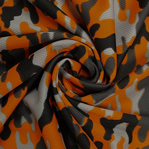 Orange Camouflage Dimple Mesh Poly Stretch Sports Knit ()