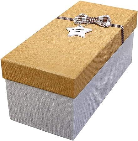 Caja de Regalo Rectangular con Accesorios de Arco Estilo Retro Fiesta de cumpleaños Taza de Aniversario Bolígrafo Empate Caja de Embalaje (Color : Oro, Tamaño : L): Amazon.es: Hogar