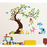 Decals Design 'Zoo Animals Vacation Under a Tree' Wall Sticker (PVC Vinyl, 60 cm x 90 cm x 1 cm), Multicolour