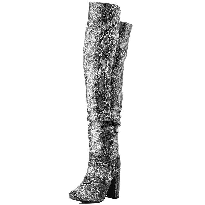 Weitschaft Blockabsatz Overknee Stiefel Synthetik Kunstleder Gr 39 LiQIBw