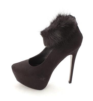 ShoeDazzle Womens Farah Closed Toe Ankle Strap Platform Pumps Black Size 8.5