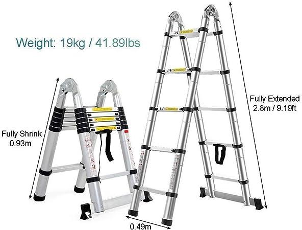 ZKORN Escalera telescópica, un Marco Escalera telescópica Plegable Extensión Extensible de Aluminio Escaleras portátiles Plegables Interior Exterior Capacidad de Carga de 330 Libras: Amazon.es: Hogar
