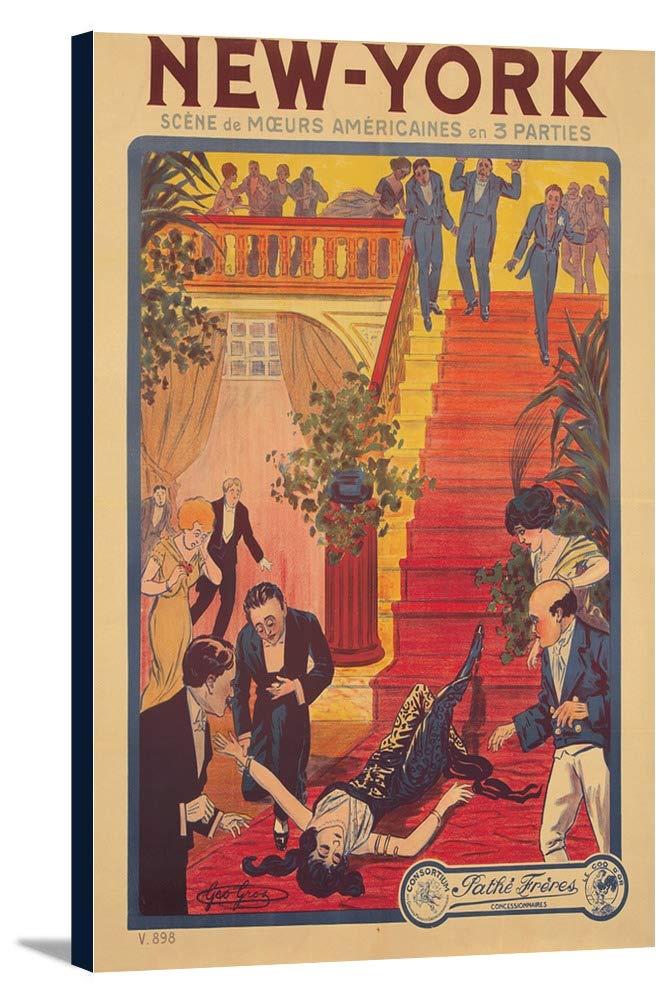 new-yorkヴィンテージポスター(アーティスト: Gros )フランスC。1906年 12 x 18 Gallery Canvas LANT-3P-SC-73801-12x18 12 x 18 Gallery Canvas  B01DZ1Z98I