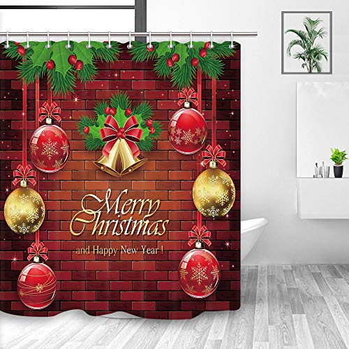 NYMB Christmas Shower Curtain, Xmas Balls Golden Bells Red Bow Holly Berry and Fir Tree Branches on Brick Wall Holiday, Fabric Bathroom Decor Bath Curtains Hooks in cluded, 69X70 in