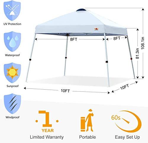 ABCCANOPY Portable Pop Up Canopy Slant Leg 10×10 Compact Instant Shelter Outdoor Canopy Tent with Compact Wheeled Bag, White