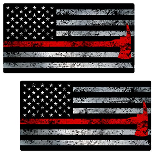 AZ House of Graphics Thin RED LINE AXE Flag 2 pack Stickers