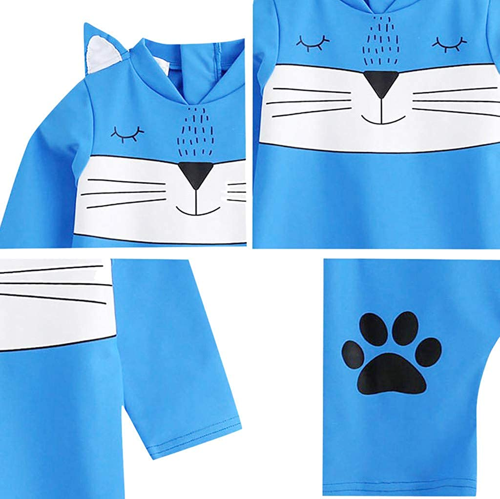 waitFOR Swimwear for Girls Kids Boys Girls Adorable Cat 3D Cartoon Print Long Sleeve One Piece Beach Swimsuit,Underwear Bathing Suit Costume Beachwear Outfits for Boys Beach Shorts Jumper Romper