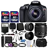 Canon EOS Rebel T6 Cámara réflex digital con lente 18 – 55 mm f/3.5 – 5.6 EF-S IS II lens + lente gran angular + 2 x Teleobjetivo de 58 mm + Kit de Flash + 48 GB SD Memory Card + Filtro UV + Trípode + Full accesorio Bundle
