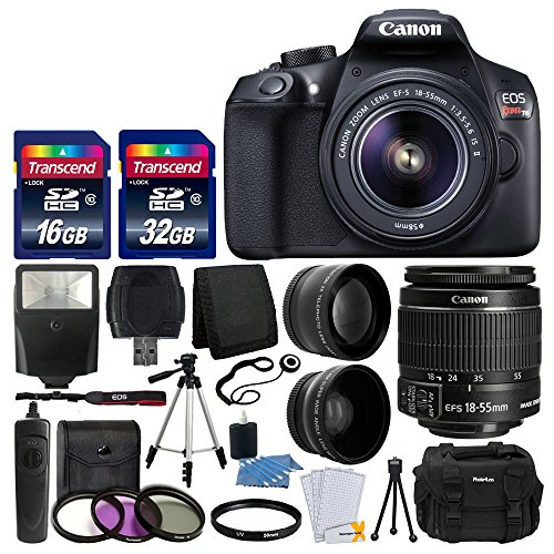 igital SLR Camera with 18-55mm EF-S f/3.5-5.6 IS II Lens + 58mm Wide Angle Lens + 2x Telephoto Lens + Flash + 48GB SD Memory Card + UV Filter Kit + Tripod + Full Accessory Bundle (18 Mp Aps)