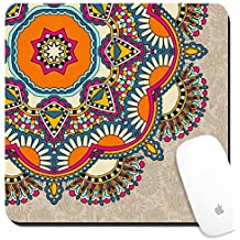 Luxlady Suqare Mousepad 8x8 Inch Mouse Pads/Mat design IMAGE ID: 32629940 floral round pattern in ukrainian oriental ethnic style for your greeting card or invitation t