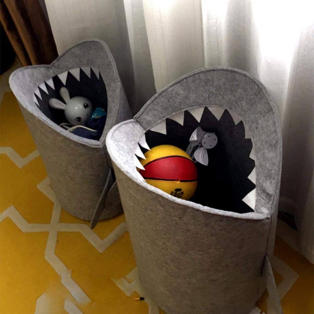 Bogget Nordic Style Felt Cloth Folding Exquisite Shark Design Dirty Clothes Storage Basket Laundry Bag Toy Clothes Storage Bucket