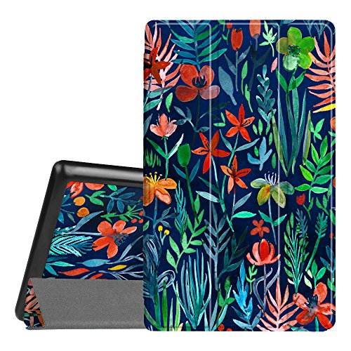 Fintie Slim Case for All-New Amazon Fire HD 8 Tablet (7th and 8th Generation Tablets, 2017 and 2018 Releases), Ultra Lightweight Slim Shell Standing Cover with Auto Wake/Sleep, Jungle (Best Fintie Kindle Tablets)