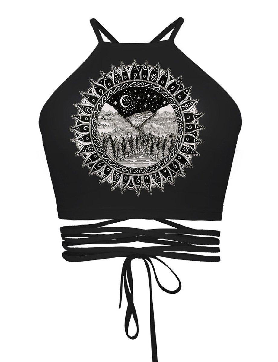 DaDa Deal Women's Teens Girls Juniors Halter Sexy Vest Crop Top Shirt (One Size, Black Scenery)
