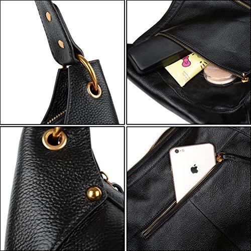 réglable Cuir fourre épaule Elégant Noir de en amovible YALUXE Noir vachette bandoulière tout à Femme Sac Sangle doré Zip Sac XwfqEza
