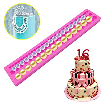 Cake Molds - Silicone Pearl String Beads Mold Fondant Diy Cake Decorating Moulds Sugar Chocolate Decoration