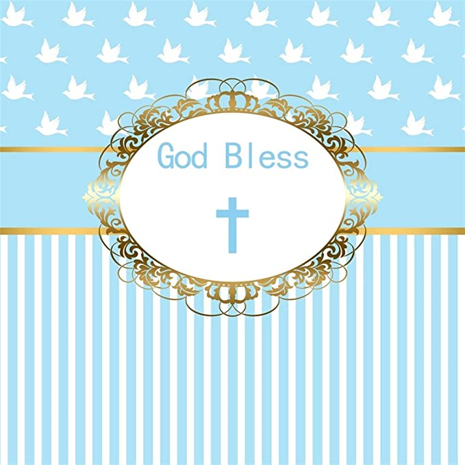 10x6.5ft Polyester God Bless Cross Infant Baptism Photography Backdrop Baby Shower Christening Beautiful Floral Parttern White Blue Stripes Background Cloth Photo Studio Props No Wrinkle