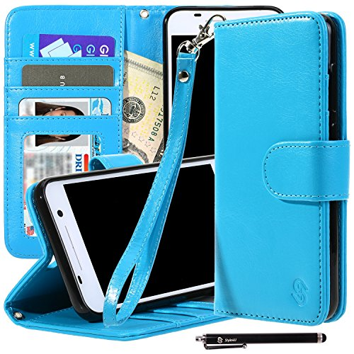 HTC One A9 Case, Style4U Premium PU Leather Stand Wallet Case with ID Credit Card / Cash Slots for HTC One A9 + 1 Stylus [Blue]
